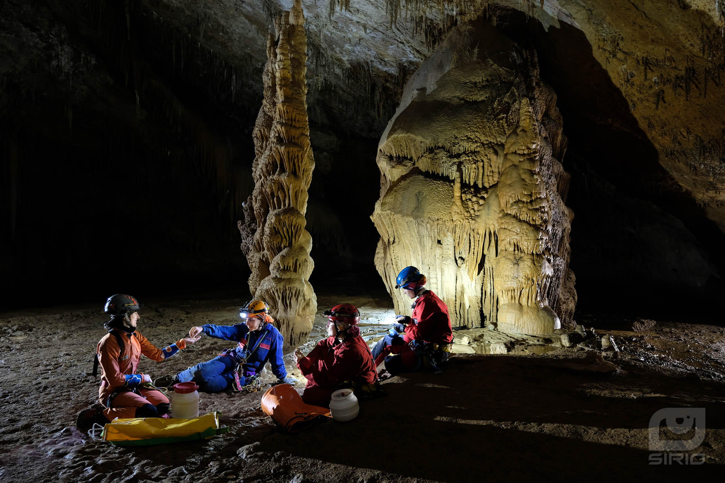 Cavers eating